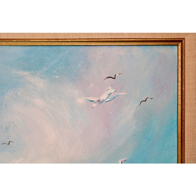 Blue Vintage Beach Seascape Original Oil Painting For Sale - Image 8 of 13