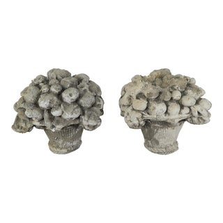 French Fruit Basket Garden Ornaments - A Pair