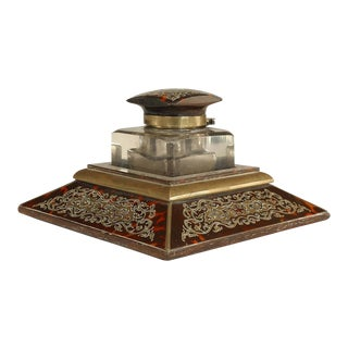 19th C. French Boulle Style Brass-Inlaid Tortoise and Crystal Inkwell For Sale