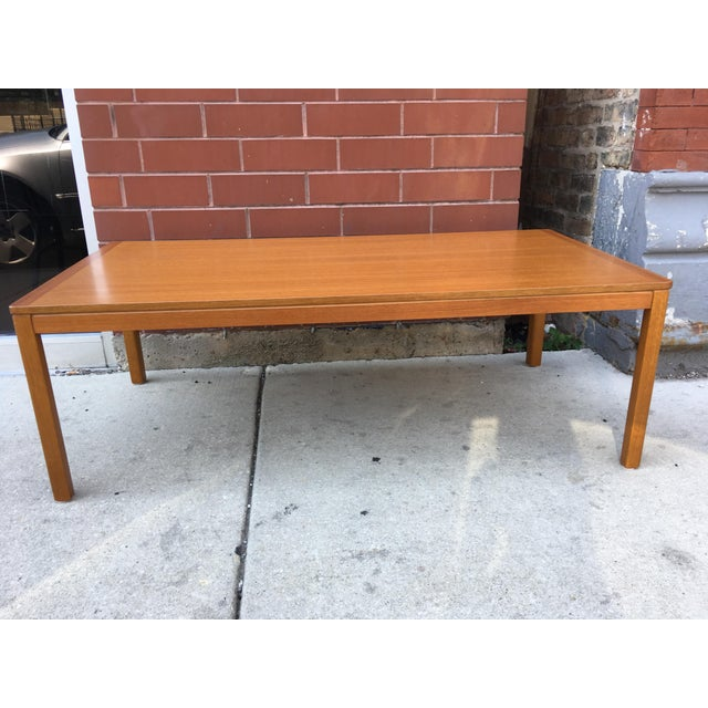 Large teak coffee table from Norway in excellent condition. Sturdy and solid yet with easily removable legs. Minimal and...