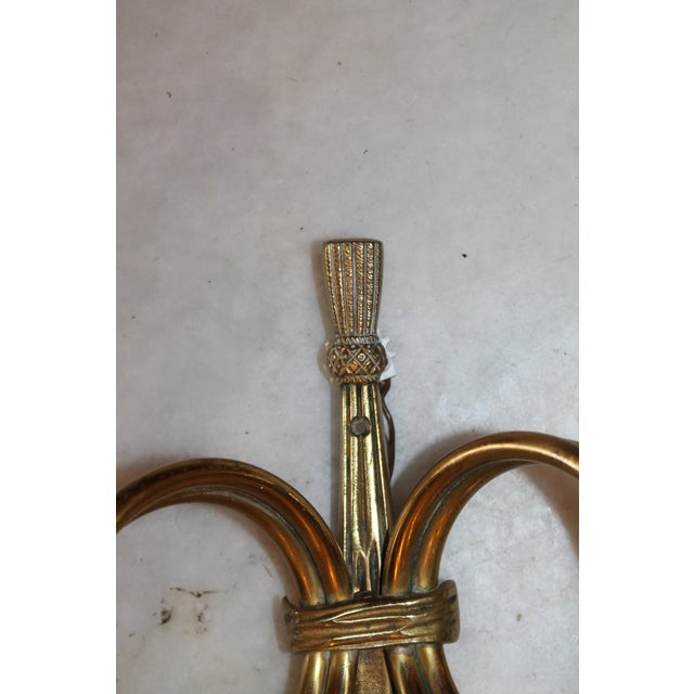 """Gold 1950s Maison Bagues """"Curled Horns"""" Dore Bronze Sconces - a Pair For Sale - Image 8 of 13"""