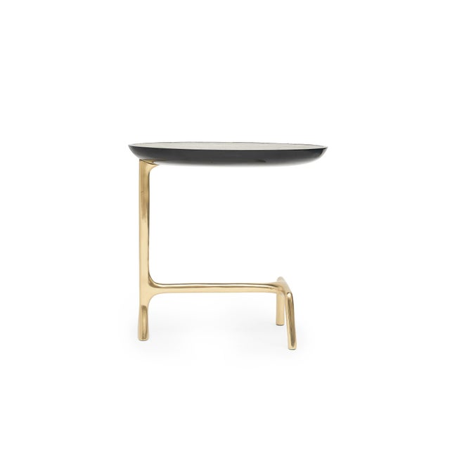 UOVO SIDE TABLE (Shagreen & Brass) by Sylvan San Francisco Material: Brass, Resin, Shagreen Inlay Color: Polished, Jet-...