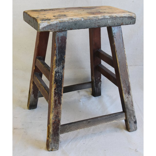 Wood Rustic Primitive Country Wood Farmhouse Stool For Sale - Image 7 of 8