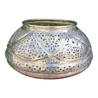 Large 19th Century Persian Mamluk Brass Bowl For Sale