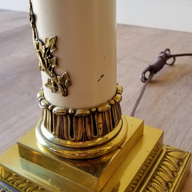 1960s Stiffel Neoclassical Brass and Ivory Table Lamps - a Pair For Sale - Image 9 of 13