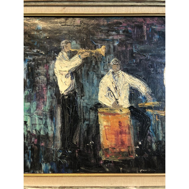 Mid-Century Modern Four Piece Jazz Players Oil Painting For Sale - Image 3 of 8