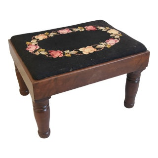 1930s English Needlepoint Floral Footstool Ottoman For Sale