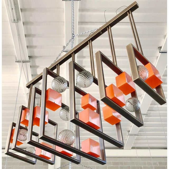 Minimalist Bronze Brass Cubic Chandelier With Orange & White Murano Glass Cubes For Sale - Image 11 of 11