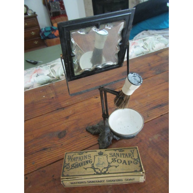Wonderful All In Victorian Cast Iron Shaving Mirror and Center with Victorian Graphical Soap for Shaving Box. Great accent...
