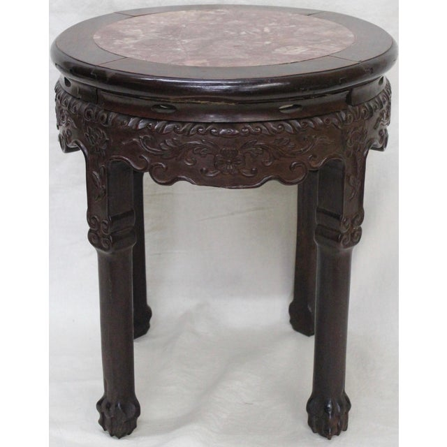 Late 19th century Indian rosewood and marble tabouret or side table.