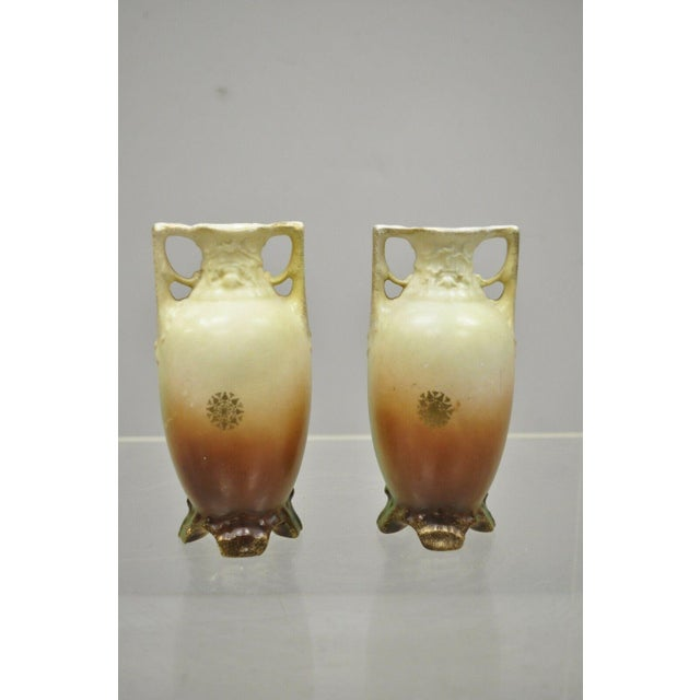Ceramic Antique Nippon Style Japan Clipper Ship Bud Vases - a Pair For Sale - Image 7 of 13