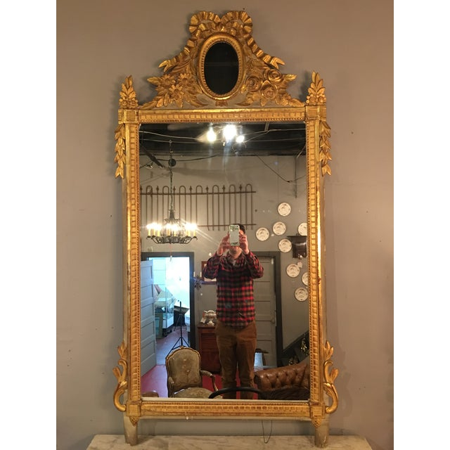 Louis XVI Style Painted and Gilded Mirror For Sale - Image 11 of 11