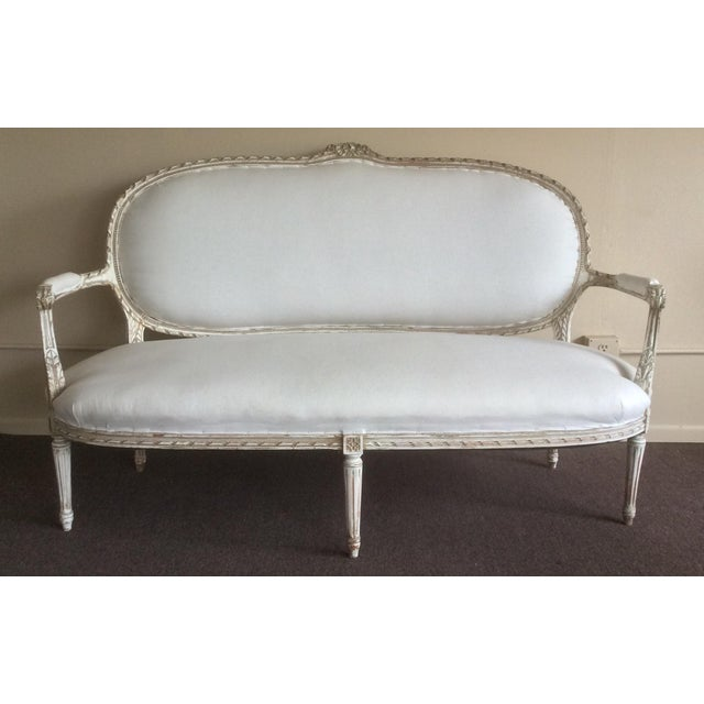 Antique French Settee With Worn White Painted Finish For Sale - Image 12 of 12