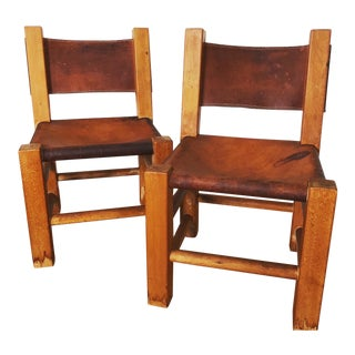 Vintage Leather and Wood Lounge Chairs - a Pair For Sale