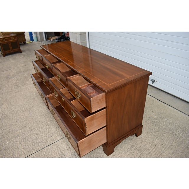 18th Century Henredon Walnut Chippendale Portfolio 8 Drawer Double Dresser For Sale In Cleveland - Image 6 of 12