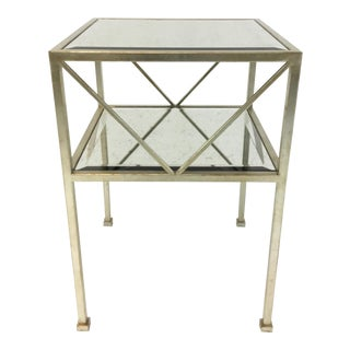 Currey & Co. Modern Antique Mirror Silver Metal Side Table For Sale