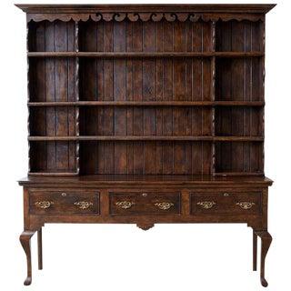 English Georgian Style Oak Welsh Cupboard Dresser For Sale