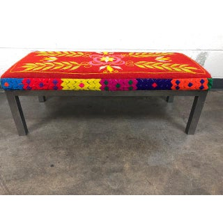 Boho Morroccan Style Woven Bench With Stainless Steel Legs Preview