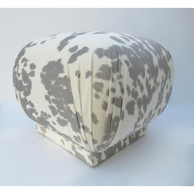 Textile Vintage C.1970s Karl Springer Souffle' Pouf Ottoman in a Nova Suede Pony Hide Spotted Textile For Sale - Image 7 of 13