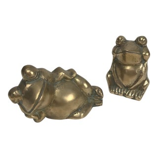 Mid 20th Century Traditional Brass Frog/Toad Figurines - a Pair