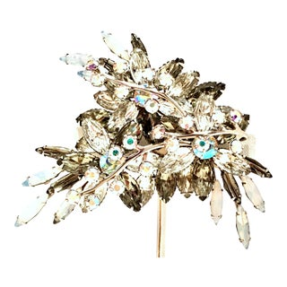 1950's Vintage Silver & Austrian Crystal Abstract Floral Dimensional Brooch For Sale