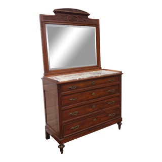 Eastlake Victorian Early 1880s Marble Top Large Dresser With Mirror For Sale