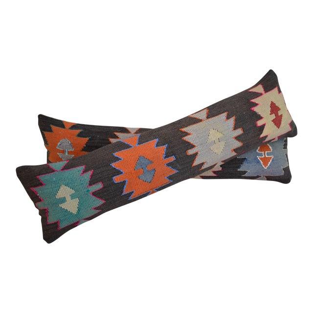 Turkish Kilim Lumbar Pillow Covers - Pair - Image 1 of 5