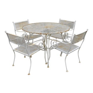 Mid Century Vintage Wrought Iron Metal Scroll Arm Patio Dining Table & Chairs - Set of 5