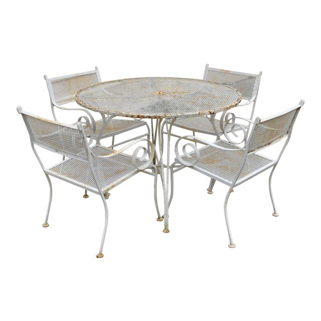 b499bf2f3343 Mid Century Vintage Wrought Iron Metal Scroll Arm Patio Dining Table    Chairs - Set of 5