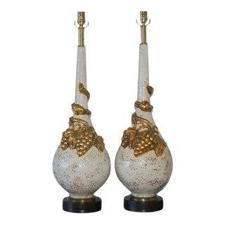 Vintage Nardini Ceramic Grape Table Lamps in White For Sale