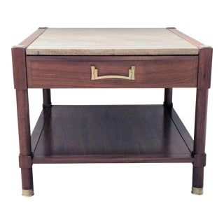 Heritage Walnut & Travertine Side Table For Sale