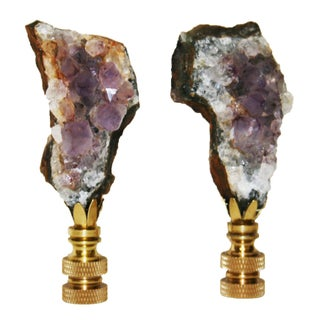Amethyst Crystal Finials - A Pair