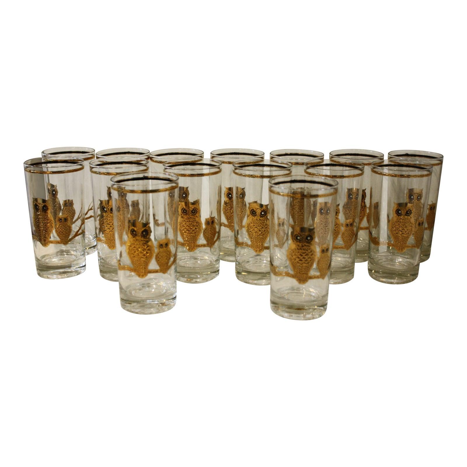 0d3c9462efe Mid-Century Culver Ltd. Gold Owl Glasses - Set of 15