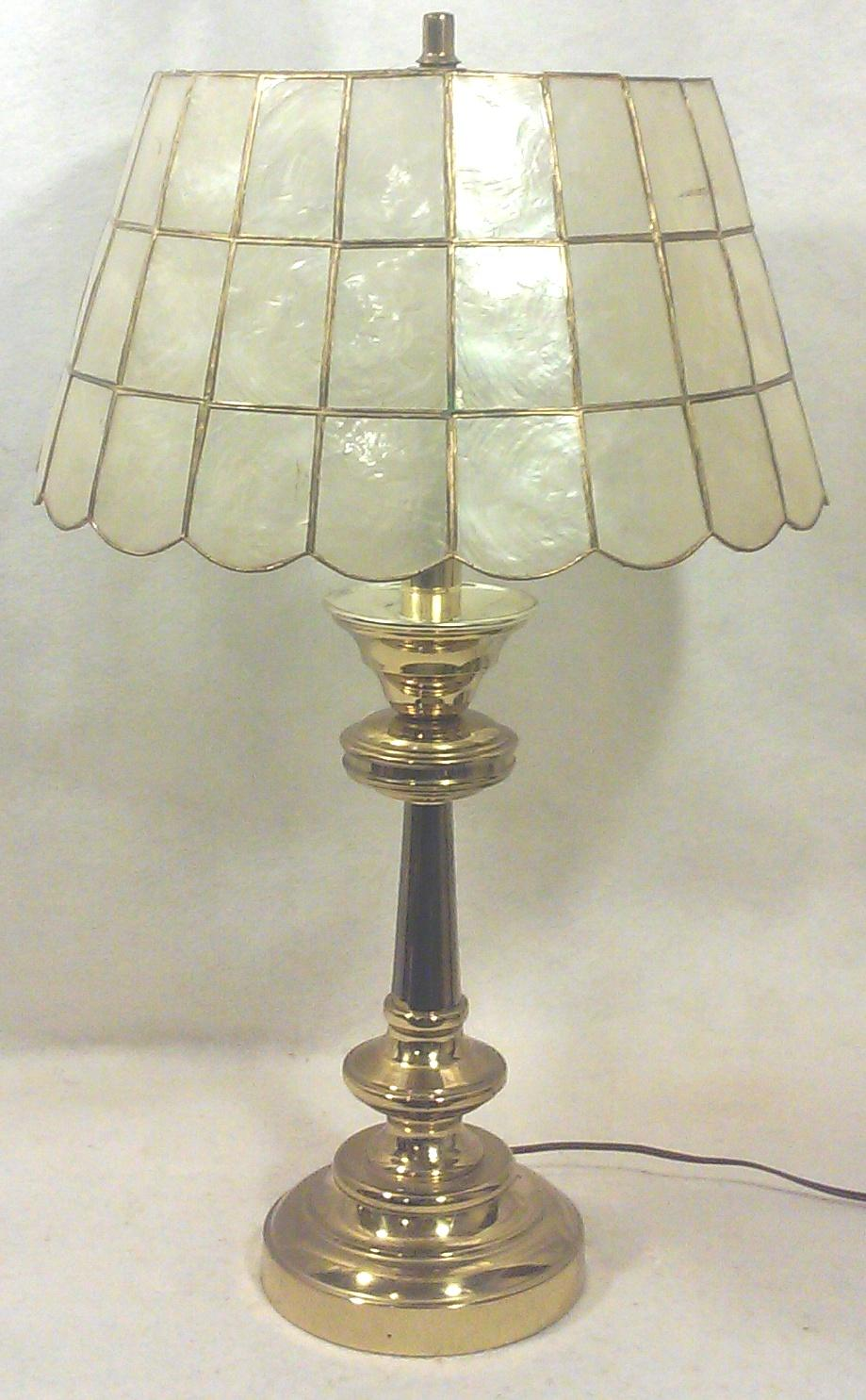 Brass Table Lamp With Capiz Shell Shade   Image 5 Of 5