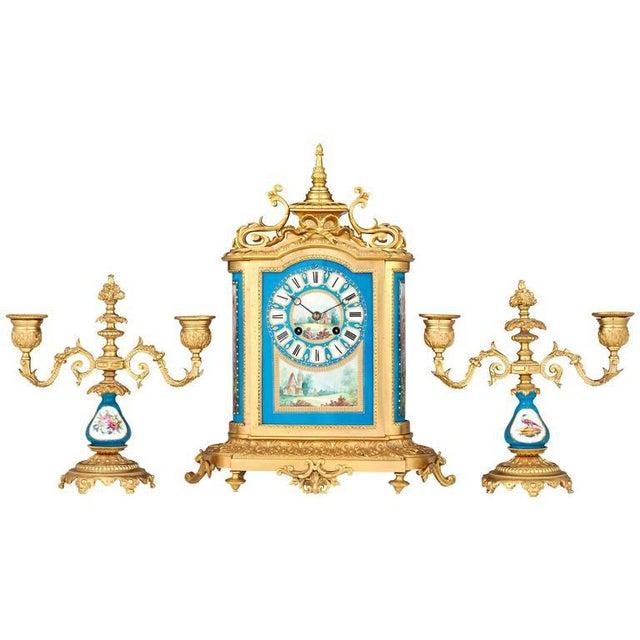 Sèvres Clock Garniture - Set of 3 For Sale In New Orleans - Image 6 of 6