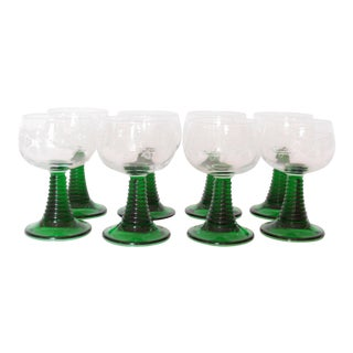 French Luminarc Green Stemmed Vintage Wine Glasses - Set of 8 For Sale