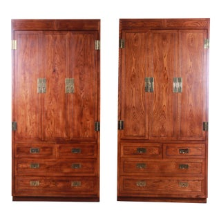 Henredon Campaign Style Armoire Dressers, 2 Available For Sale