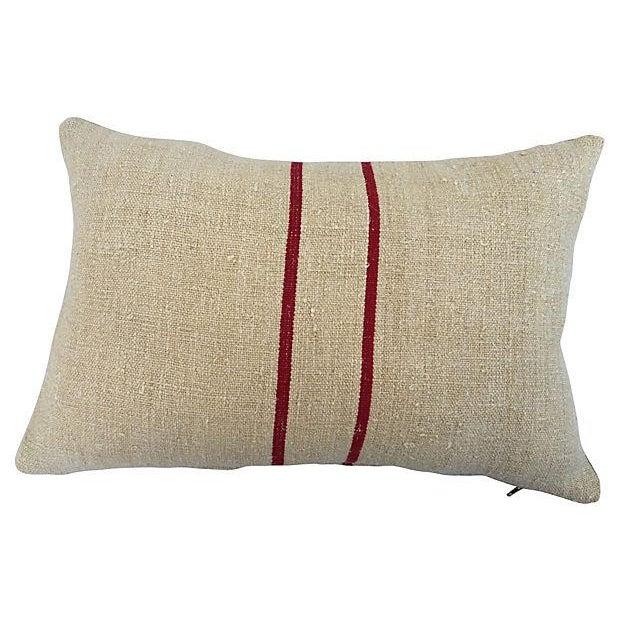 English Grain Sack Pillows - Pair - Image 2 of 4