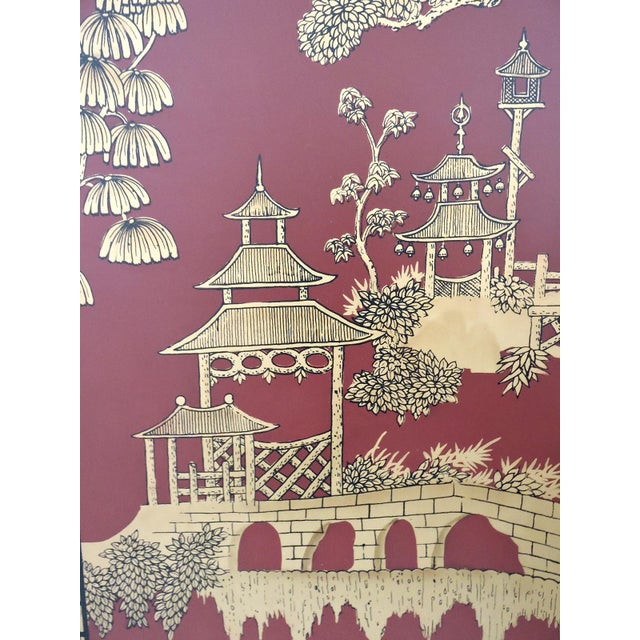 Decorative Oriental Red & Gold Wall Panels - Pair - Image 2 of 5