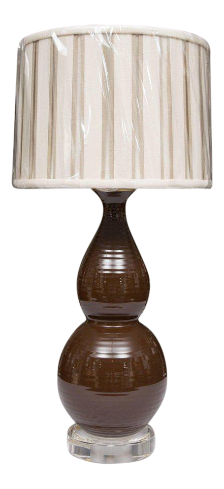 Incredible Pair Of Chocolate Brown Double Gourd Table Lamps