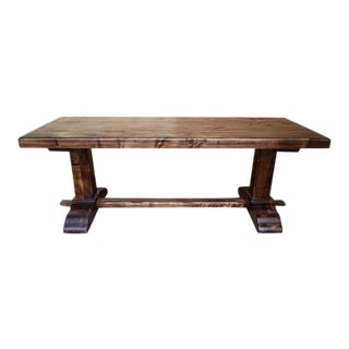 Vintage French Country Oak Solid Trestle Dining Table