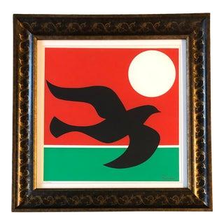 Original Vintage Braque Style Dove Lithograph Signed For Sale