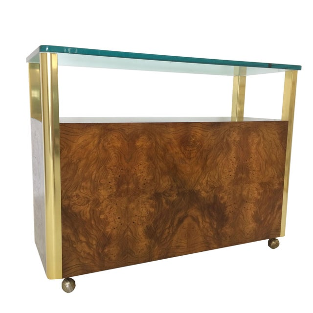 Burled Wood & Brass Console by Century Furniture Company For Sale - Image 10 of 10