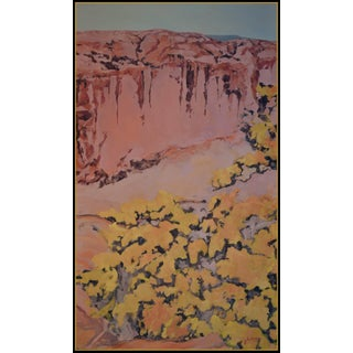 """""""Canyon De Chelly Cottonwoods 2"""" Original Oil Painting on Linen by Contemporary Expressionist, George Brinner For Sale"""