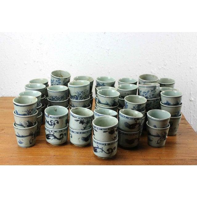 Sarreid Ltd. Vintage Blue & White Cups - 64 Pieces - Image 3 of 3