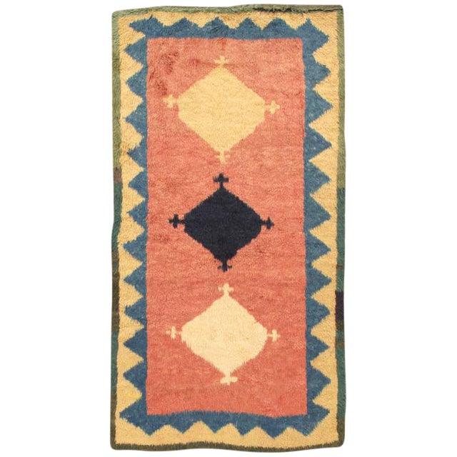 "Modern Pasargad Home Gabbeh Wool Area Rug- 4' 1"" X 7' 5"" For Sale"