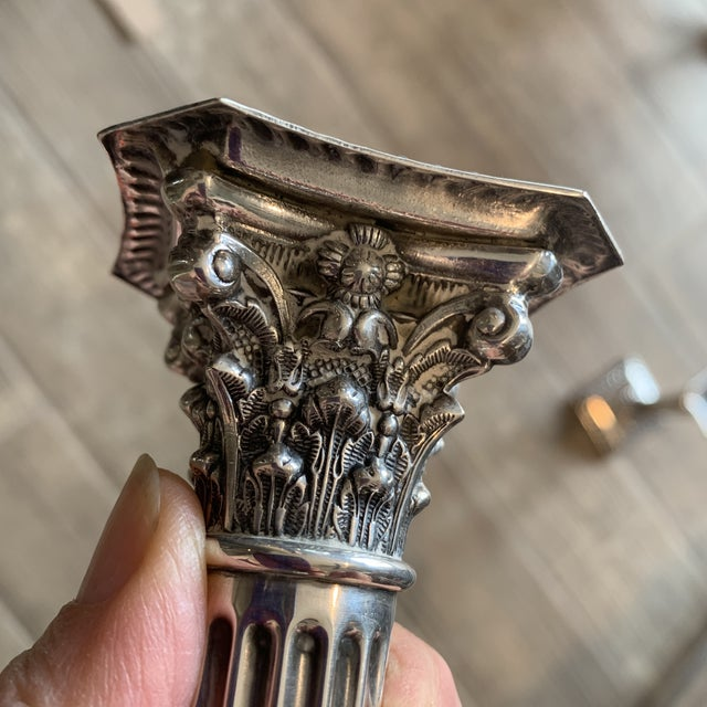 Silver Antique Silverplate Corinthian Column Candlesticks- a Pair For Sale - Image 8 of 9