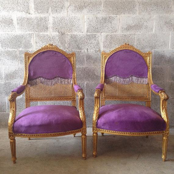 Antique Louis XVI Purple Chairs   A Pair   Image 2 Of 6