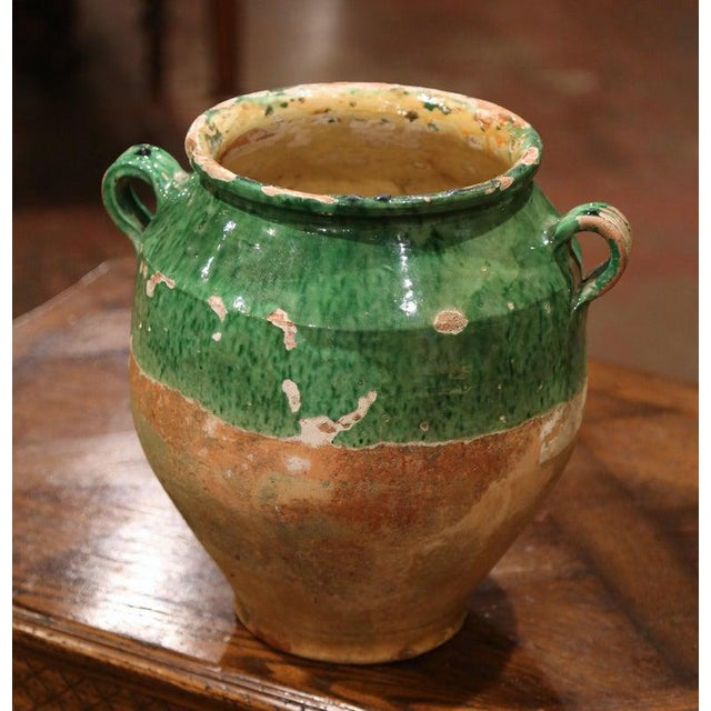 19th Century Green Glazed Pottery Confit Pot From Southwest France For Sale - Image 4 of 7