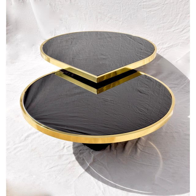 Swivel Brass & Black Glass Cocktail Table by Design Institute of America For Sale - Image 10 of 13